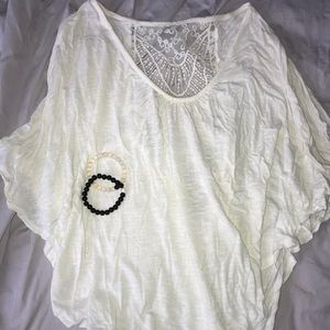 White Flowy Top with Lace Back